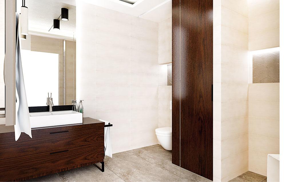 V kúpeľni je navrhnutých viacero LED pásov. Svoje miesto majú nielen v pohľade, ale aj v nikách v priestore sprchy a toalety.