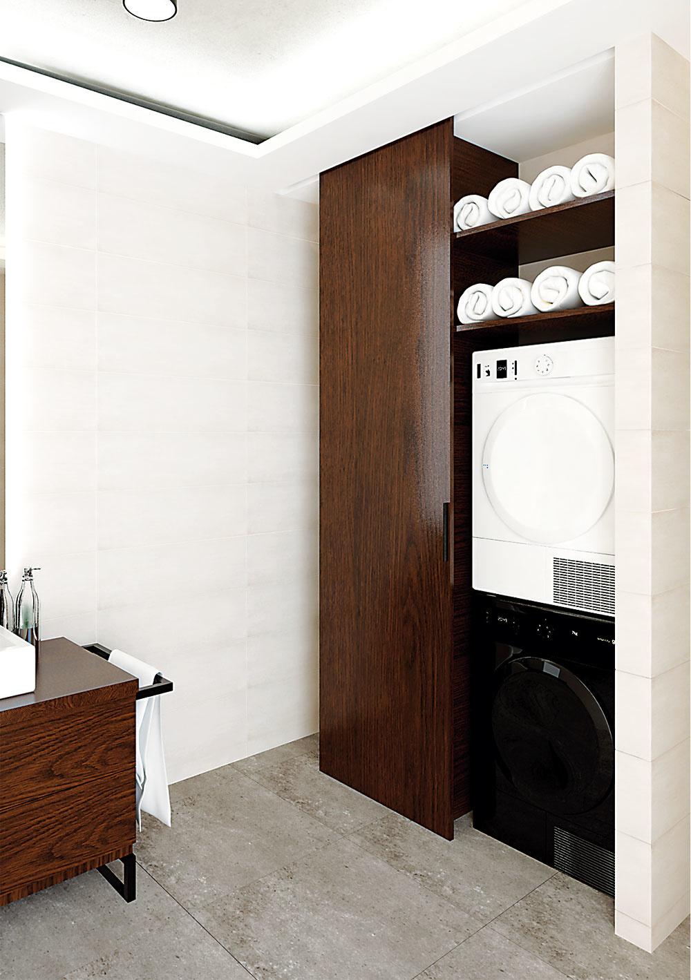 Práčku so sušičkou umiestnil architekt za posuvné dvere s mechanizmom šikovne ukrytým v podhľade. Nad sušičkou vznikla vítaná odkladacia plocha.