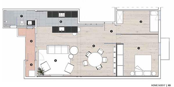 Pôdorys 1 vstup do bytu 2 hosťovská izba 3 spálňa 4 jedáleň 5 obývačka 6 kuchyňa 7 kúpeľňa 8 terasa 9 práčovňa