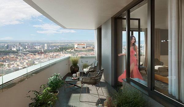 majitelia bytov si budú užívať nerušený výhľad na Bratislavu i vďaka tomu, že v okolí nebude stáť žiadna ďalšia výšková budova.
