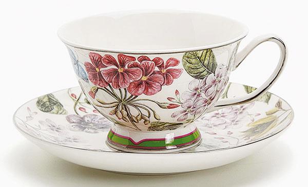 Porcelánová šálka na čaj a tanierik so sieťotlačou, 11,99 €, Zara Home
