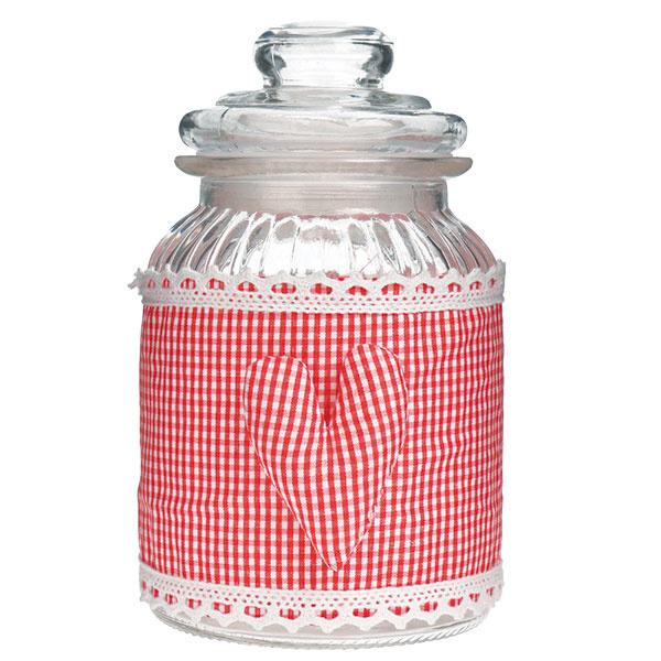 Sklenená dóza InArt Red Selha, výška 17 cm, sklo, polyester, 8 €, www.bonami.sk