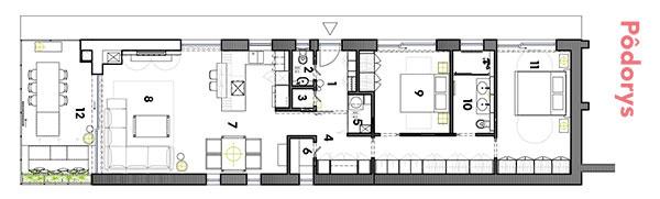 Pôdorys 1 zádverie 2 WC 3 kotolňa 4 chodba 5 práčovňa 6 špajza 7 kuchyňa, jedáleň 8 obývačka 9 izba 10 kúpeľňa  11 izba 12 zimná záhrada