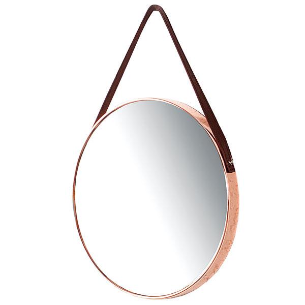 Nástenné zrkadlo Portait, kov, koža, priemer 45 cm, 66 €, www.bighome.sk