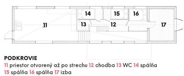 Podkrovie 11 priestor otvorený až po strechu 12 chodba 13 WC 14 spálňa 15 spálňa 16 spálňa 17 izba