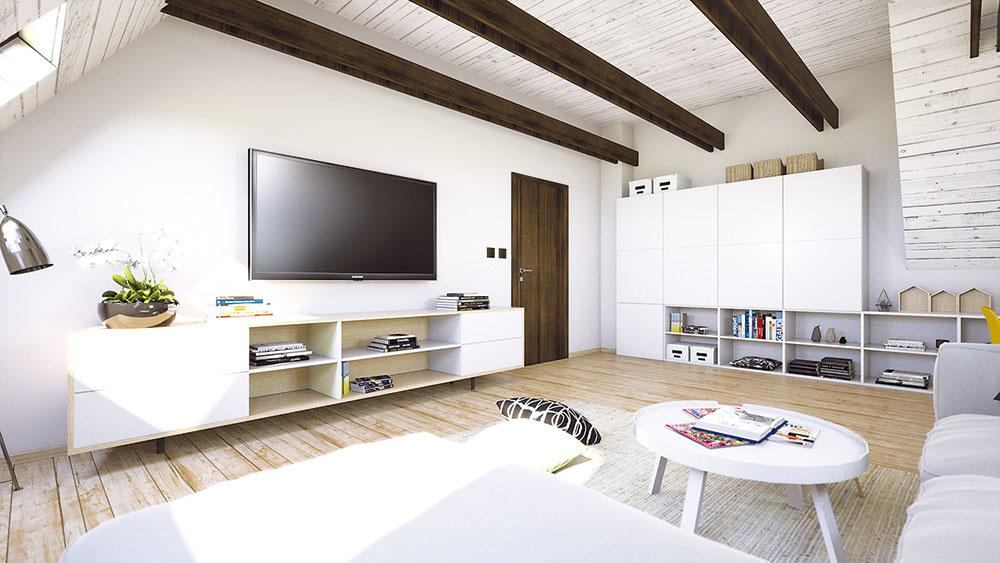 Úložný priestor na knihy, ktorých majú majitelia požehnane, vznikol aj pod televízorom vo forme praktickej skrinky. Ďalší sa skrýva za dverami.
