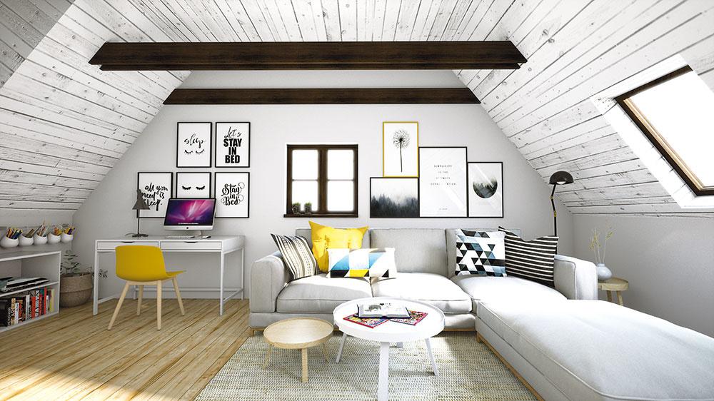 Škandinávsky štýl sa tejto podkrovnej izbe mimoriadne hodí. Tatranský profil je nastriekaný bielou farbou a zariadenie sa tiež nesie vo svetlom duchu, keďže izba nedisponuje nadbytkom prirodzeného svetla.