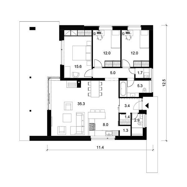 Prízemný rodinný dom BETA 3