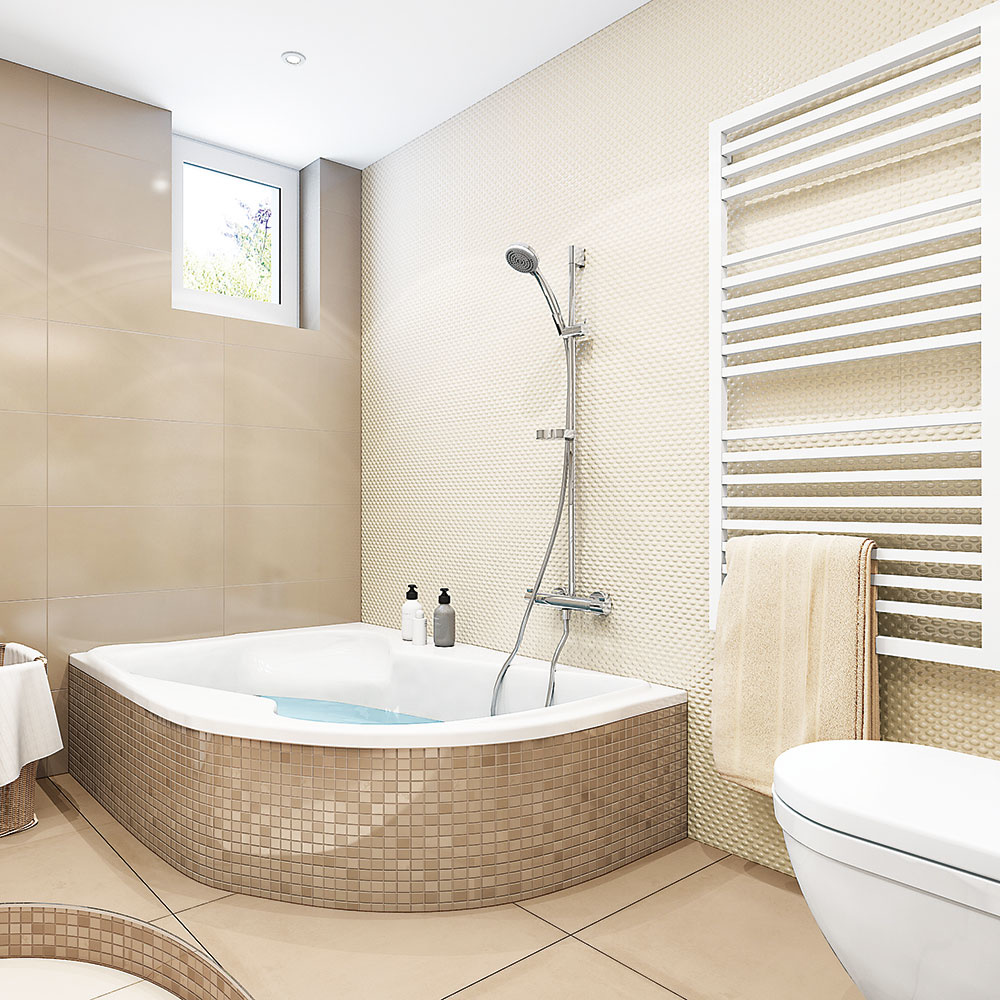 Znížený strop a zapustené bodové svetlá spríjemnia kúpanie vo veľkej vani, ktorá bola podmienkou.