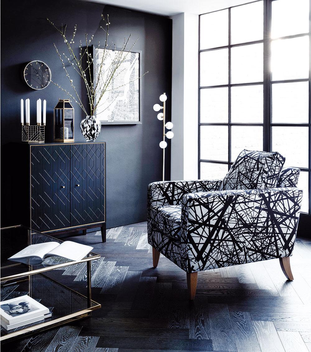 Štýl 2 Čierna  Vyblednutá čierna, tzv. Black Flame, je ostrá, sofistikovaná, ale i dramatická a ponúka zaručený spôsob, ako vytvoriť luxus v interiéri. Výborne sa kombinuje s bielou, zlatou, ale aj s tyrkysovou.