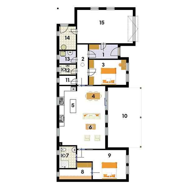 Pôdorys (rozmery 19 × 9,5 m) 1 zádverie 2 chodba 3 hosťovská izba 4 jedáleň 5 kuchyňa 6 obývačka 7 kúpeľňa 8 šatník 9 spálňa 10 terasa 11 komora 12 WC 13 technická miestnosť, práčovňa 14 sklad 15 garáž