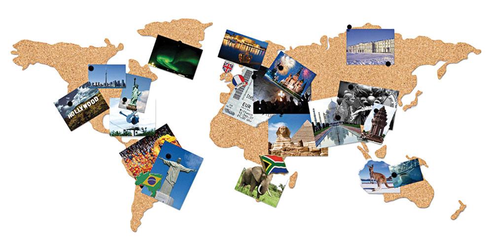 Nástenná mapa z korku od značky Luckies of London, 26 €, www.bonami.sk