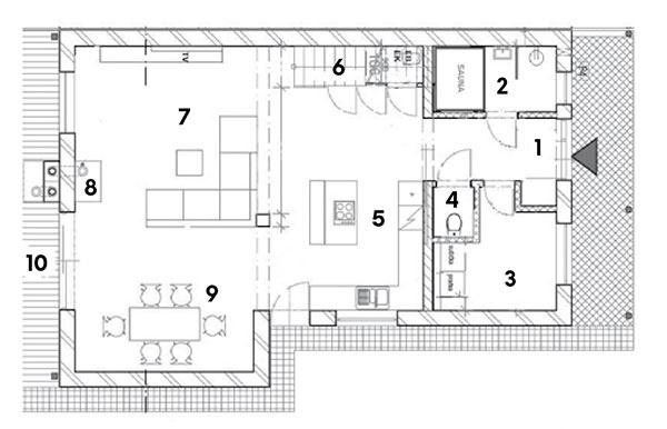 Prízemie 1 predsieň 2 sauna so sprchou 3 sklad, práčovňa 4WC 5kuchyňa 6 odkladací priestor pod schodmi 7obývačka 8kozub 9 jedáleň 10 terasa