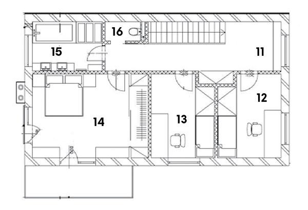 Poschodie 11 chodba 12 pracovňa 13 detská izba 14 spálňa 15 kúpeľňa 16 WC