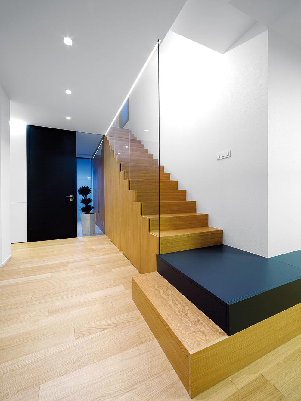 Polotransparentná stena splnými dverami oddeľuje dennú časť domu od predsiene.