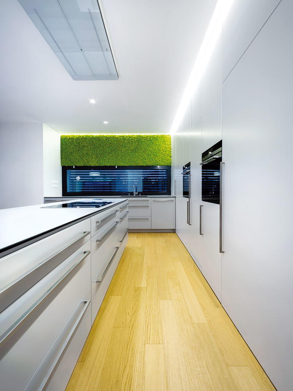 Odsávanie integrované do stropného podhľadu umožnilo architektom vyhnúť sa optickej bariére, ktorú by vytvoril ostrovný digestor.