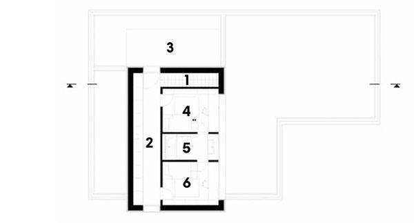 Poschodie 1 schody 2 chodba/šatník 3 strešná terasa 4 izba 5 kúpeľňa 6 izba
