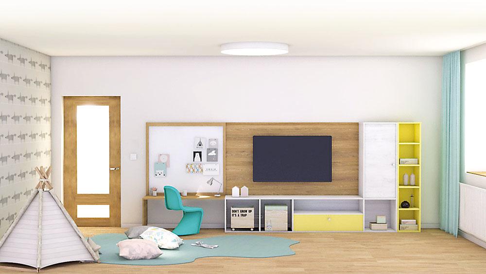 Striedanie otvorených auzavretých skriniek spojených sTV stenou + pracovným stolíkom pre deti. Skrinky môžu slúžiť či už na hračky, alebo hosťom ako malý úložný priestor.