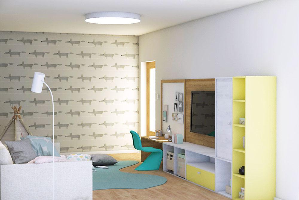 Otvorený policový systém na stene vedľa sedačky tvorený kompozíciou otvorených korpusov (na hračky či knihy pre deti) pôsobí hravo avzdušne. Veselá tapeta so vzorom líšky Mr. Fox zaručene vyčarí úsmev na tvári malým iveľkým.