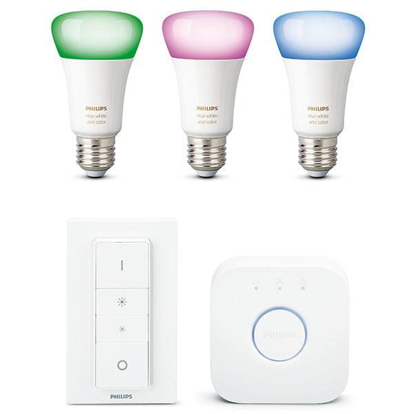 LED žiarovky Philips Hue sú kompatibilné sbežnými závitmi, stačí ich namontovať, prepojiť srdce systému – Hue bridge – swifi routerom anainštalovať mobilnú aplikáciu. Okamžite budete mať kdispozícii až 16 miliónov farieb, synchronizáciu shudbou, filmami ahrami, nastavenie budíkov, kontrolu hlasom, ovládanie mimo domova alebo tvorbu vlastných svetelných atmosfér. So štartovacou súpravou získate tri žiarovky, Hue bridge aovládač Dimmer switch, prípadne si svoj systém môžete rozšíriť oďalších zo skoro 100 produktov zrodiny Hue. Odporúčaná predajná cena 199,90 €. www.philips.sk/hue