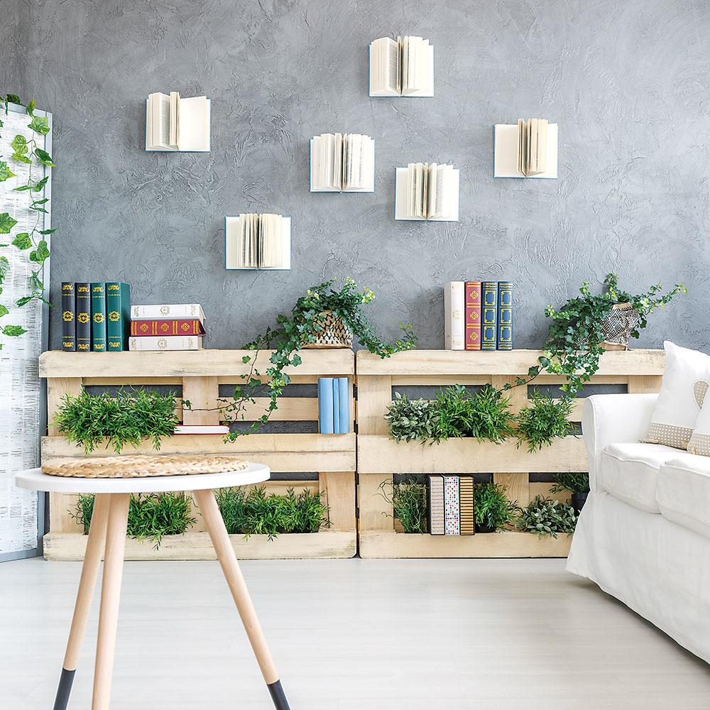 Štýl 9 ZPALIET  Jednoduché, lacné anápadité riešenie. Staré palety si dnes vďaka mladým kreatívnym ľuďom našli pestré využitie. Okrem postele či pohovky znich vyrobíte aj knižnicu, ktorú ozvláštnite tým, že pomedzi knihy vysadíte živé rastliny. Môžete ich uložiť vedľa seba či vrstviť nad sebou.