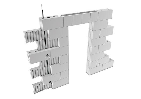 PRIEBEŽNÉ OTVORY   Výhodou vápennopieskových blokov je vysoká pevnosť, únosnosť atepelná akumulácia, sčím je však spojená aj ich tvrdosť anáročné opracovanie. Zjednodušenie predstavujú priebežné otvory vkvádroch SENDWIX, ktoré možno pri dodržaní väzby využiť na vedenie vnútorných inštalácií. Umiestnenie vnútorných otvorov vyznačujú zvonka zvislé výstupky na bokoch blokov.  www.km-beta.sk