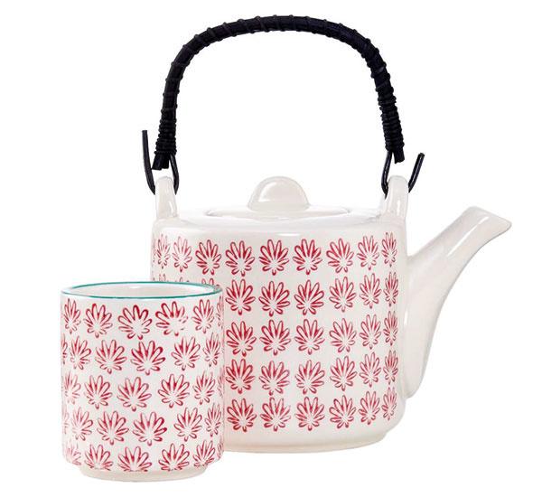 Konvička na čaj, porcelán, červená, 700 ml, 15,5 × 11 × 18 cm, 13,73 €, www.butlers.cz