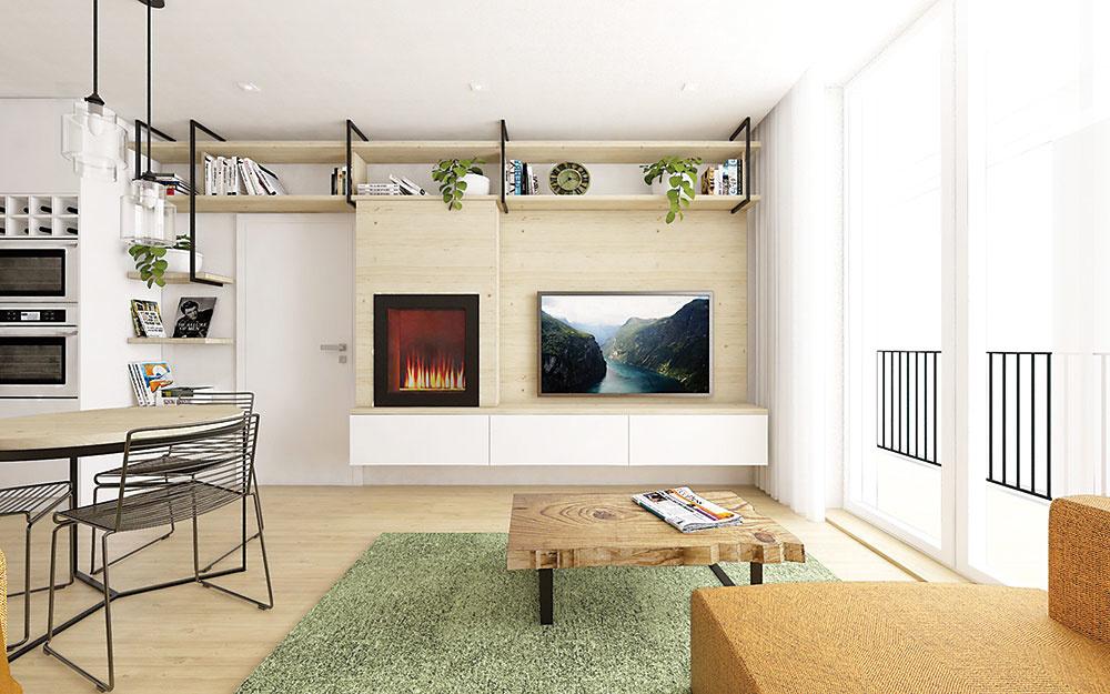 Industriálne prvky sú použité scitom vcelej miestnosti. Objavujú sa vpodobe detailov, ako sú konzoly na police, nožičky na nábytku či visiace lampy. Kým jedálenské stoličky pôsobia moderne avzdušne vďaka kovovej konštrukcii, konferenčný stolík zmasívneho dreva vnáša do priestoru voňavý prírodný prvok.