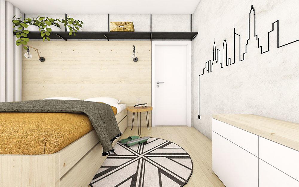 Rovnaké materiály sú použité vcelom byte vrátane spálne. Príjemnou zmenou je štuková stena vjemnom sivom odtieni snápaditou čiernou siluetou mesta, ktorá vedie až kelektrickej zásuvke.