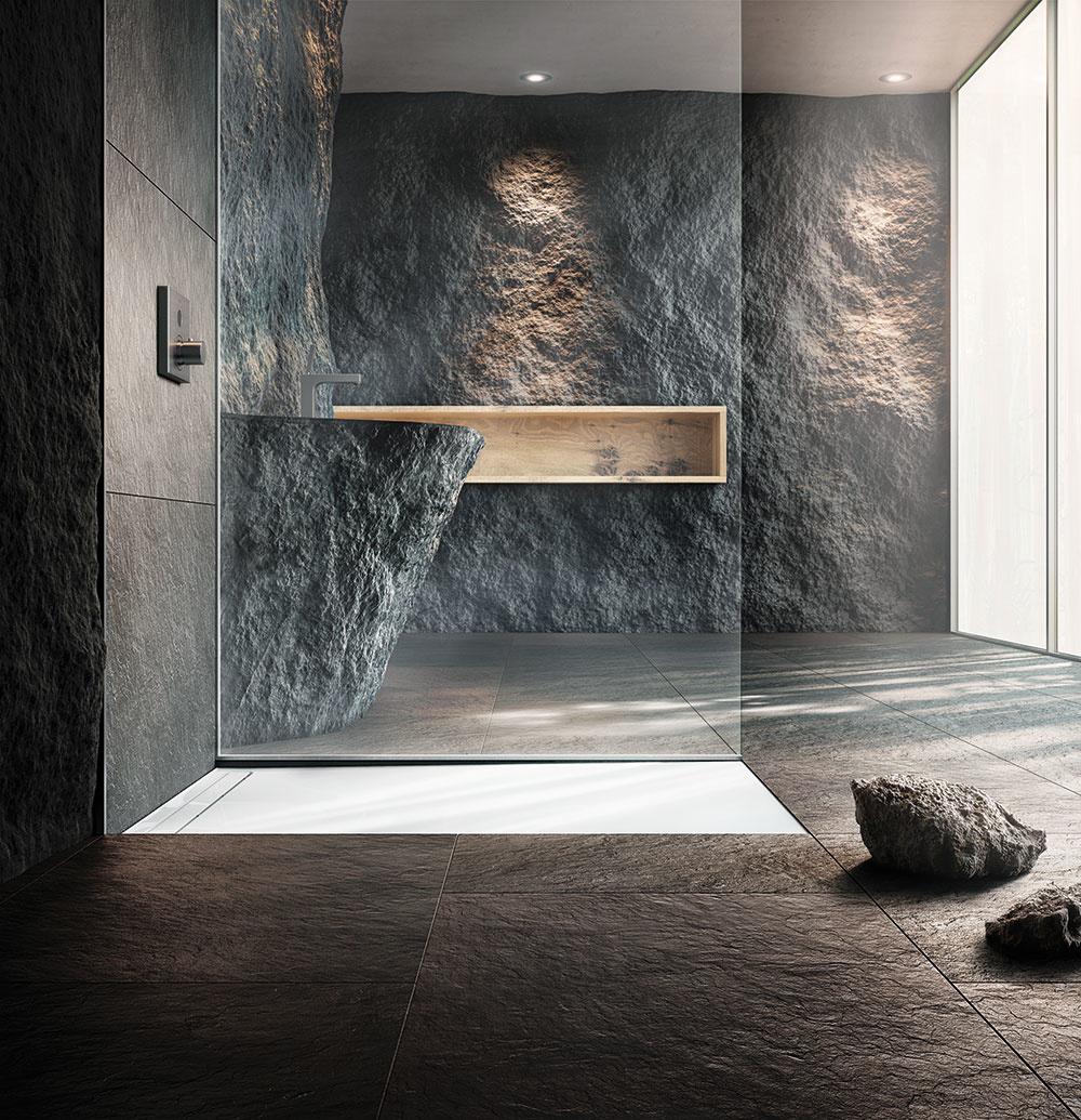 SPRCHOVÝ KONCEPT so smaltovanou extra plochou sprchovacou vaničkou amontážnym systémom Nexsys od značky Kaldewei predstavuje dokonalé spojenie flexibility, estetiky ajednoduchosti.