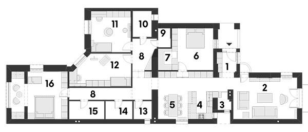 Súčasný stav 1 predsieň 2 obývačka 3 komora 4 kuchyňa 5 jedáleň 6hosťovská izba 7 šatník 8 chodba 9 sklad 10 detská kúpeľňa 11 detská izba 12 detská izba 13 WC 14 práčovňa 15 rodičovská kúpeľňa 16 rodičovská spálňa