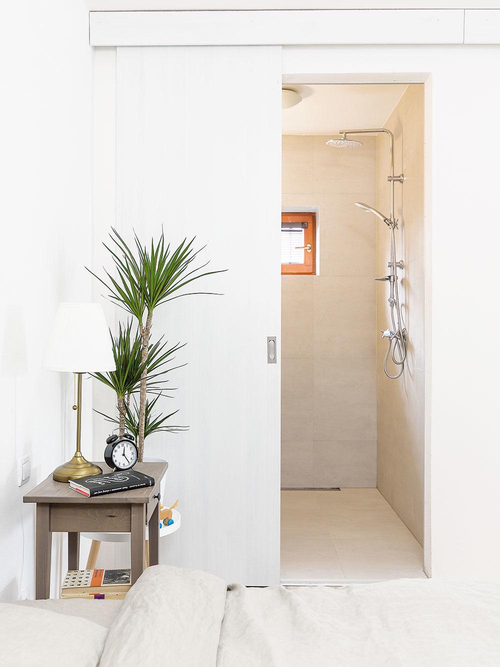 Khlavnej spálni na prízemí prislúcha okrem šatníka aj malá kúpeľňa či skôr veľký sprchovací kút sumývadlom, oddelený priestorovo úspornými posuvnými dverami.