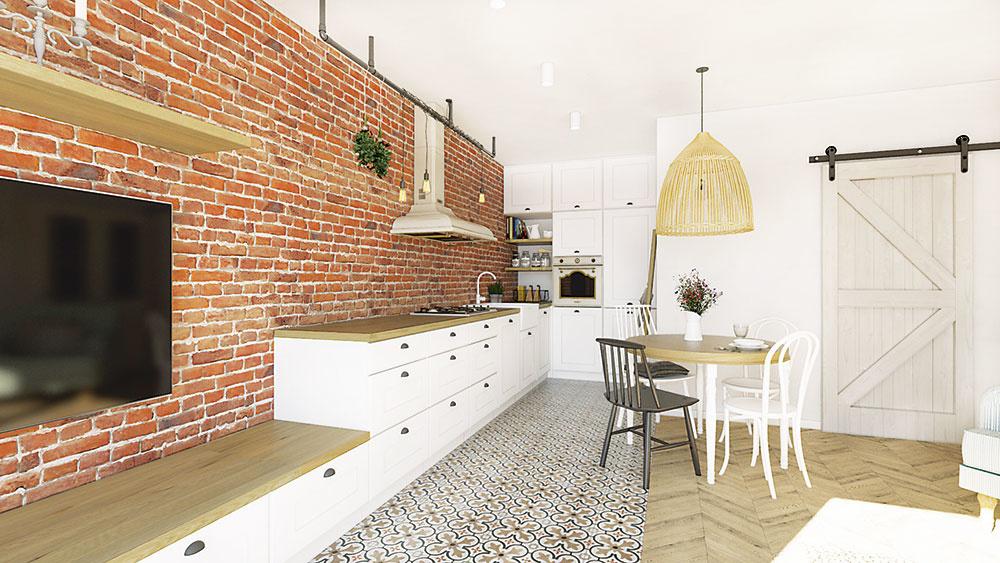 """Vintage dlažba v miestnosti je neprehliadnuteľná a prakticky rozdeľuje priestor na dve zóny. V oddychovej časti plynule prechádza do krásnej drevenej podlahy. Všetok praktický úložný priestor vrátane spotrebičov je v kuchyni šikovne sústredený v """"úkryte"""" za stenou. Pohľad z pohovky na dominantnú tehlovú stenu tak nič nenarúša."""