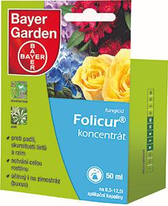 Folicur® koncentrát                               Fungicídny prípravok určený k ochrane ruží proti múčnatke, čiernej škvrnitosti a hrzi, okrasných rastlín proti múčnatke a hrdzám. Dôležitou oblasťou je ochrana krušpánu, čiže buxusu, a to proti škvrnitosti listov a cylindrokladiové škvrnitosti listov. Prípravok má preventívny a tiež čiastočne kuratívny (liečebný) účinok.