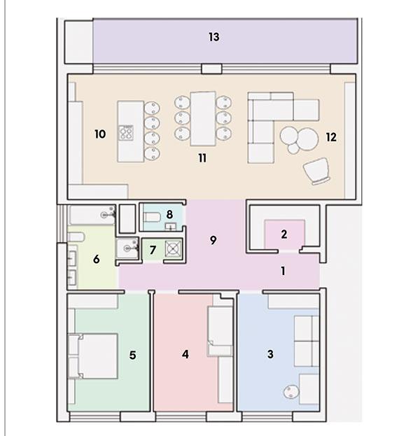 Pôdorys  1 chodba 2 šatník 3 pracovňa/hosťovská izba 4 detská izba 5 spálňa 6 kúpeľňa 7 práčovňa 8 WC 9 vstupná hala 10 kuchyňa 11 jedáleň 12 obývacia izba 13 lodžia