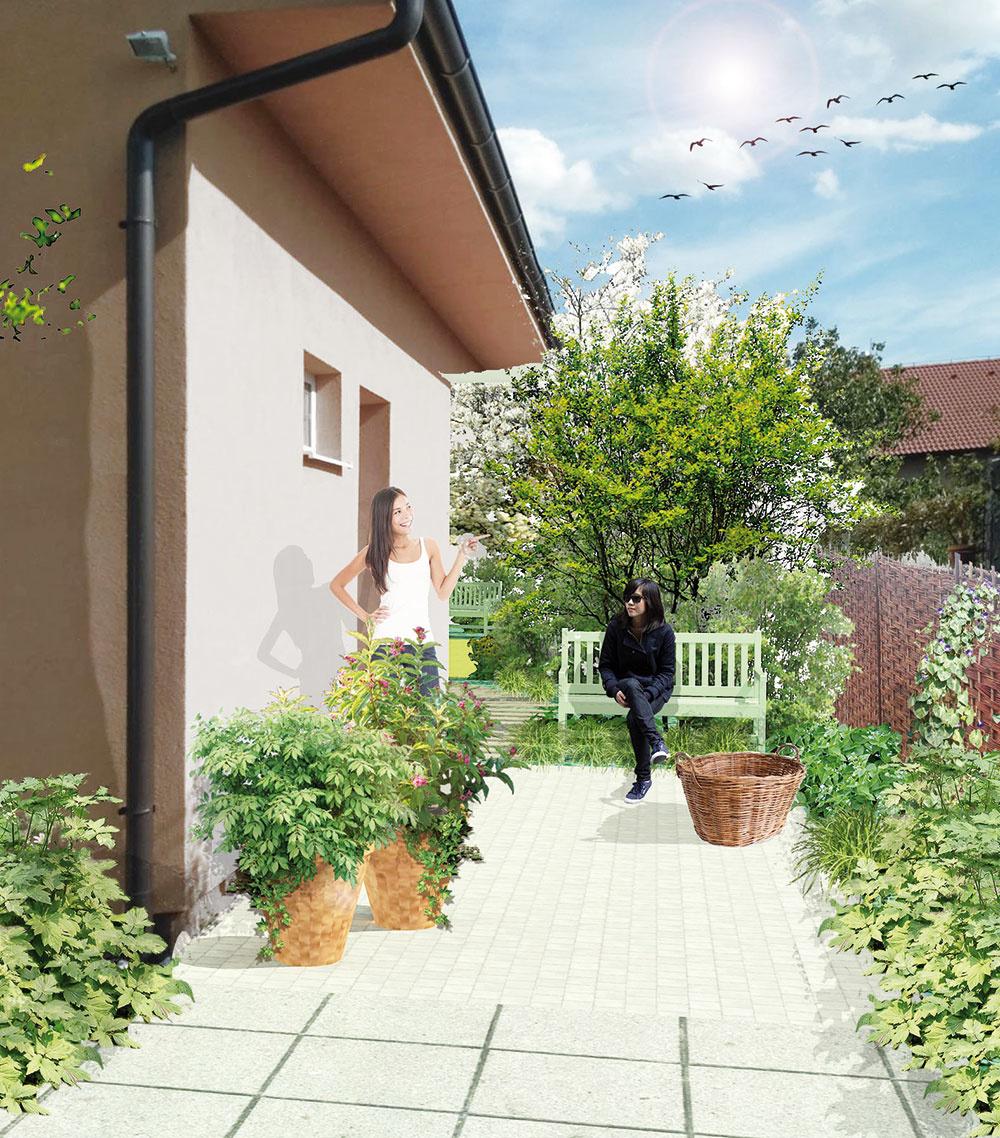 Farebnej fasáde sa vždy musí prispôsobiť výber rastlinného sortimentu. Aby záhrada pôsobila príjemným auvoľneným dojmom, je potrebné, aby koncept záhrady adomu medzi sebou nesúperili.