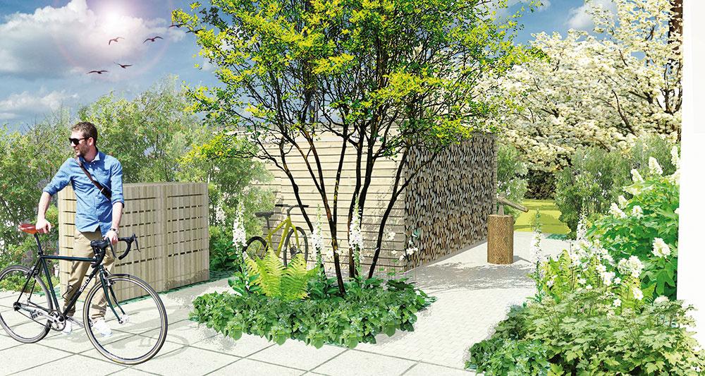 Technická časť záhrady je vytvorená na dobre dostupnom mieste. Je tu aj pôvodný príves obložený drevom, ktorý rodina používa ako kôlňu. Pred drevníkom je spevnená plocha cca 2 m, potrebná pre dobrú manipuláciu sdrevom. Nezabúdajte ani na detaily, ako je kryt na kontajneroch.