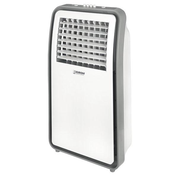 Ochladzovač vzduchu   Aircooler 2.0 pracuje na princípe prefukovania vzduchu cez vodné filtre, kde sa vzduch nasýti vodou aochladí. Je vhodnou alternatívou vprípade, ak klimatizácia nie je ekonomicky výhodná aventilátor neposkytuje dostatočné chladenie. Trieda energetickej účinnosti A, cena 69 €. www.hornbach.sk
