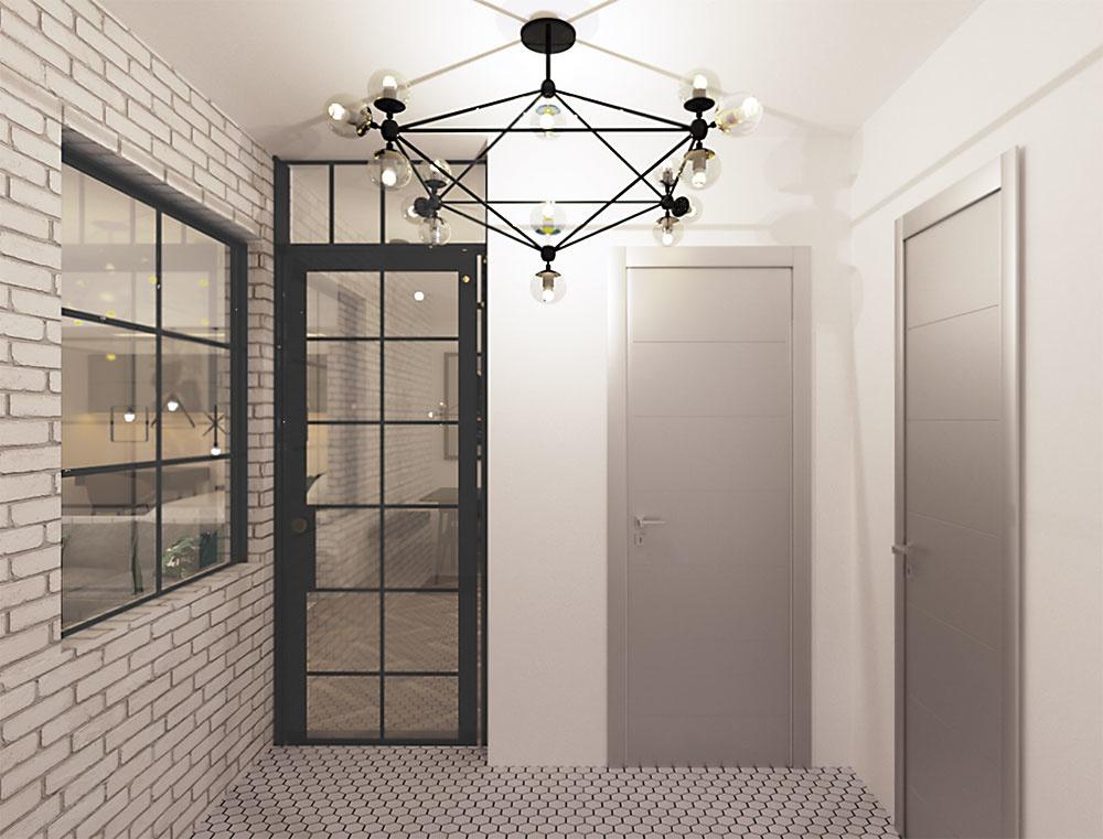 Oddelená chodba znižuje hluk a zabezpečuje obyvateľom vytúženú intimitu. Vďaka bočnému oknu dosadenému do novej priečky a preskleným dverám si udržala miestnosť potrebné prirodzené svetlo.