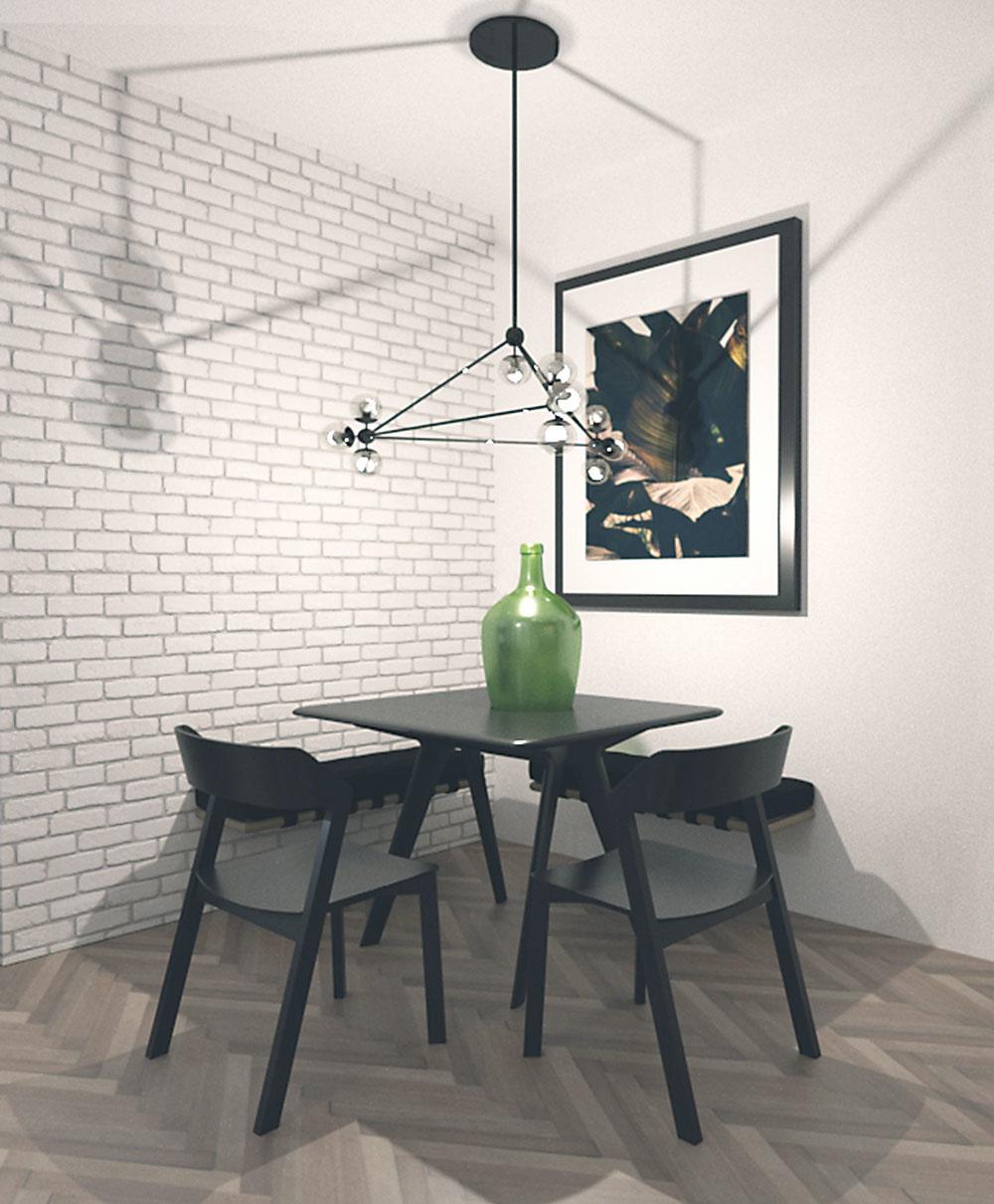 Jedálenský kút je riešený prakticky avduchu minimalizmu. Po oboch stranách steny sú namontované šikovné sklápacie lavice.