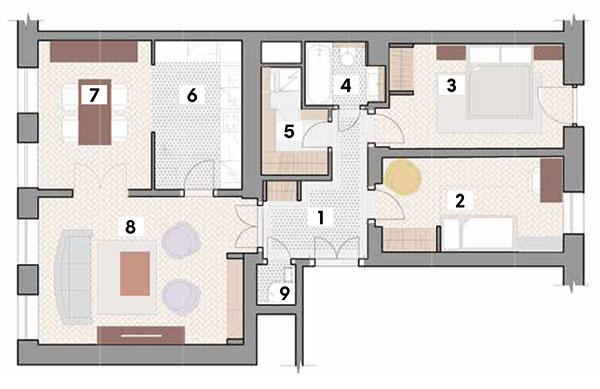 Po rekonštrukcii 1 chodba 2 izba 3 spálňa 4 kúpeľňa 5 technická miestnosť (práčovňa + kotol) 6 kuchyňa 7 jedáleň 8 obývačka 9 WC