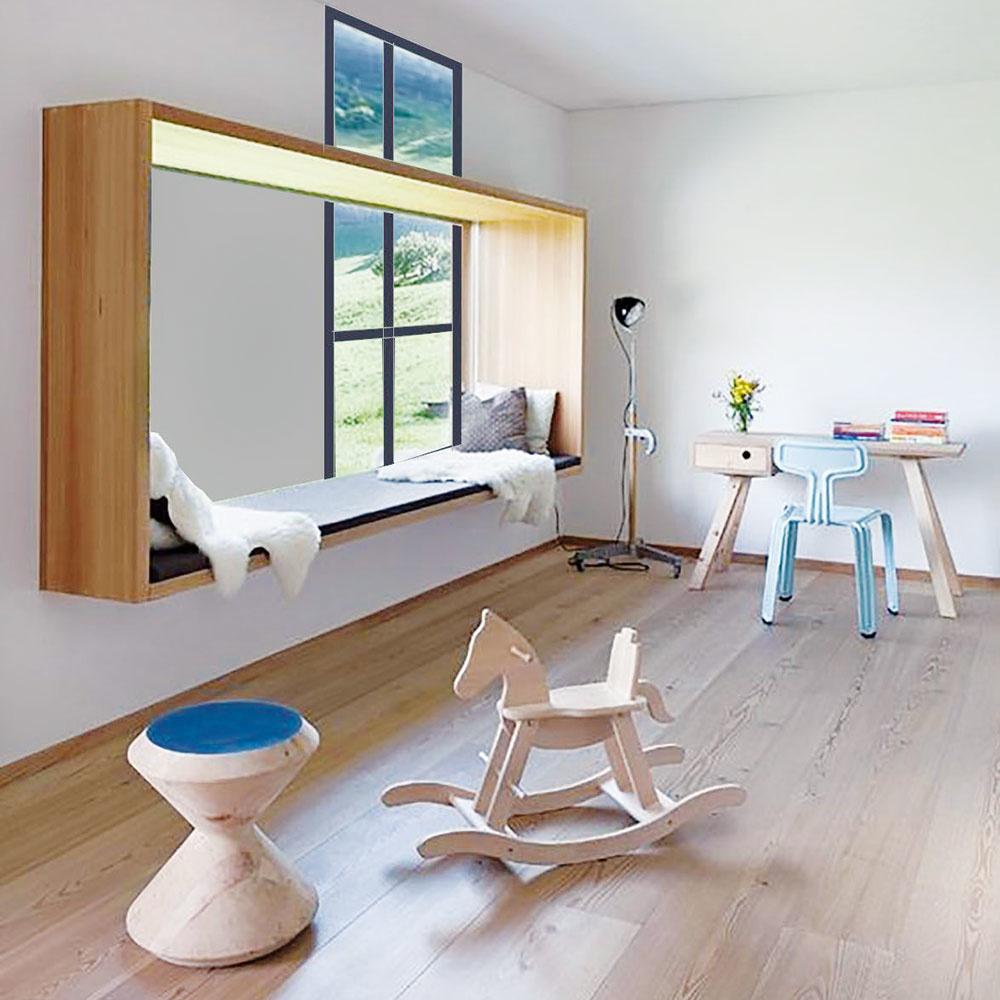 Štýl 2 VO VZDUCHU  Deti milujú sedenie vokne. Ak máte možnosť, vytvorte im ho priamo vdetskej izbe. Výklenok ponúka rozmanité možnosti na hru asúčasne ina vyhrievanie na slnku. Nemusíte nutne ohraničiť sedenie múrikom ani nábytkom. Niektoré moderné varianty ponúkajú vysunuté okná zo steny alebo naopak, vysunutie okna smerom do interiéru, napríklad vpodobe drevenej či inej konštrukcie vytvorenej na mieru. ARQUITETURA