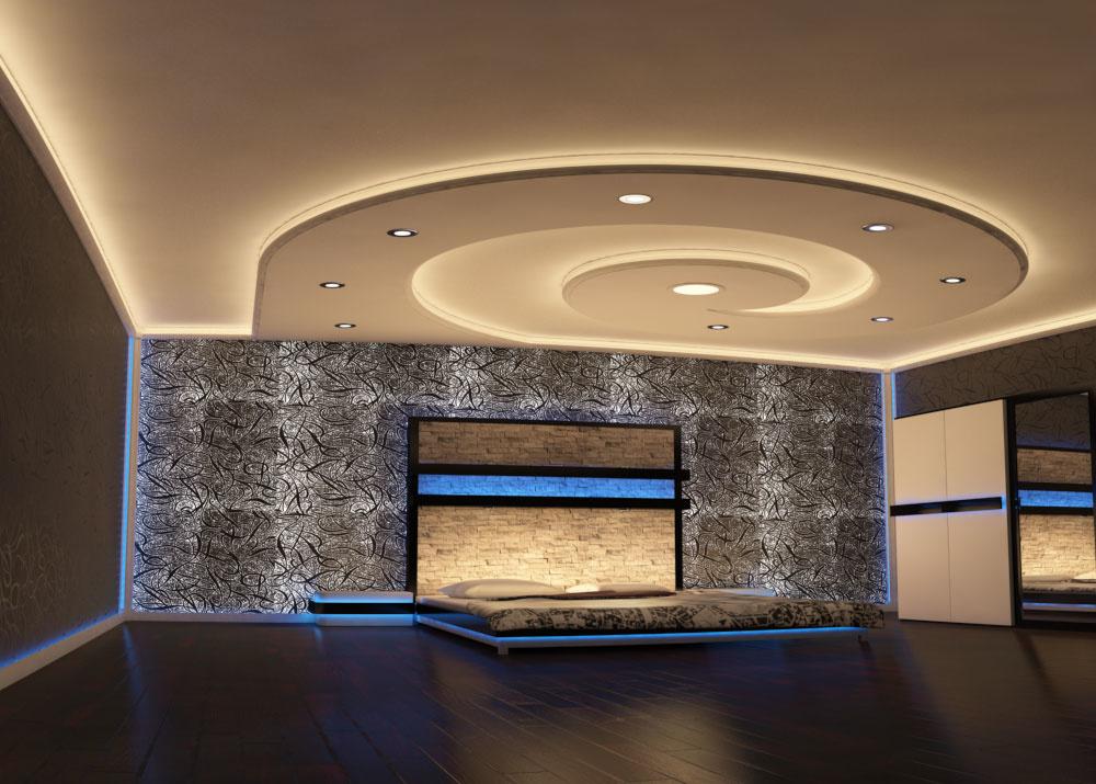 Moderné riešenie na stropnú dekoráciu s osvetlením