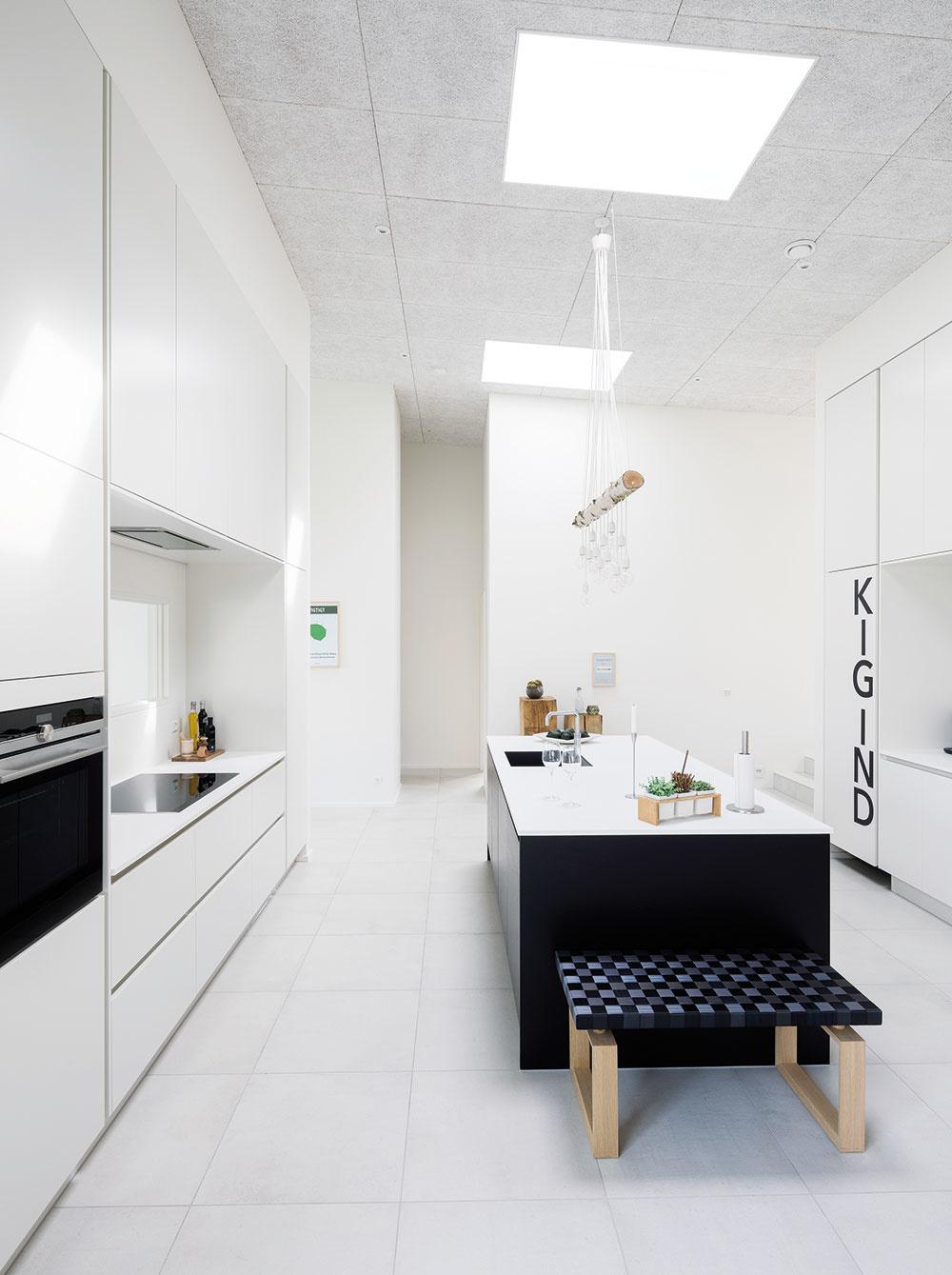 Prehľadná dispozícia bungalovu poskytuje dostatok priestoru aj pre veľkú rodinu. Vďaka spolupôsobeniu vysokých stropov so svetlíkmi, veľkých zasklených plôch na fasáde asvetlých farieb je interiér plný svetla apôsobí vzdušne aoptimisticky.