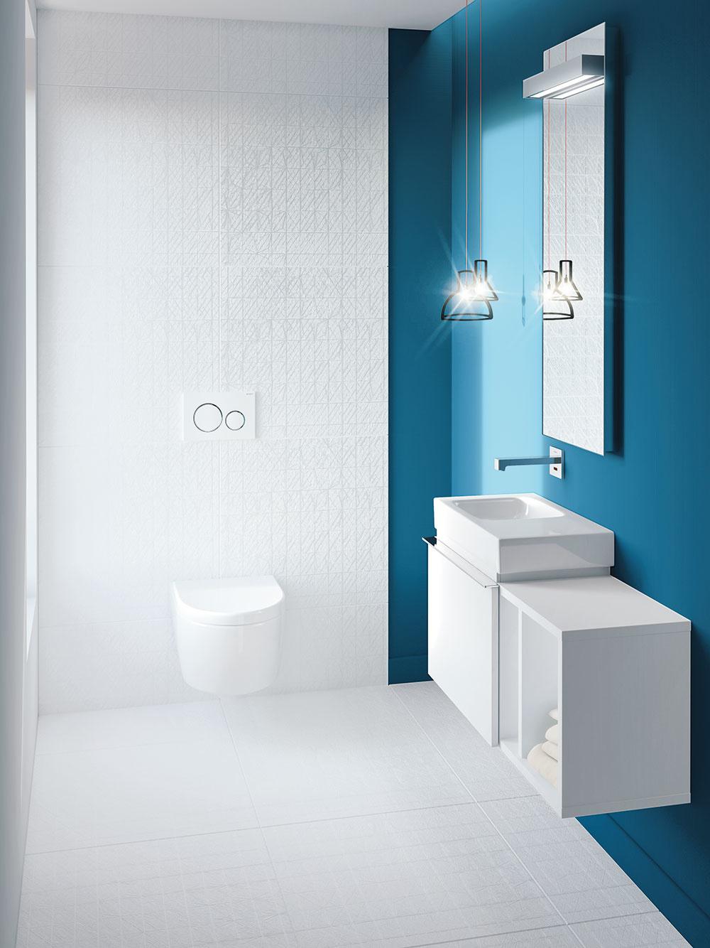 3 SANITA ANÁBYTOK  Pri výbere sanity je zvykom, že pozostáva zjednej kolekcie, aby kúpeľňa pôsobila jednotným dojmom. Či už ide ovaňu, WC, umývadlo alebo bidet, mali by spĺňať dve kritériá – praktickosť afunkčnosť. Samozrejme, potrebné je prihliadať aj na dizajn či materiály azaváži aj cena. Nábytok vyberajte najmä podľa vašich potrieb, apreto si premyslite, čo všetko potrebujete vkúpeľni umiestniť. Stavte na výrobky zkvalitných materiálov, ktoré sú odolné proti vode amajú špeciálne ošetrený povrch. FOTO GEBERIT