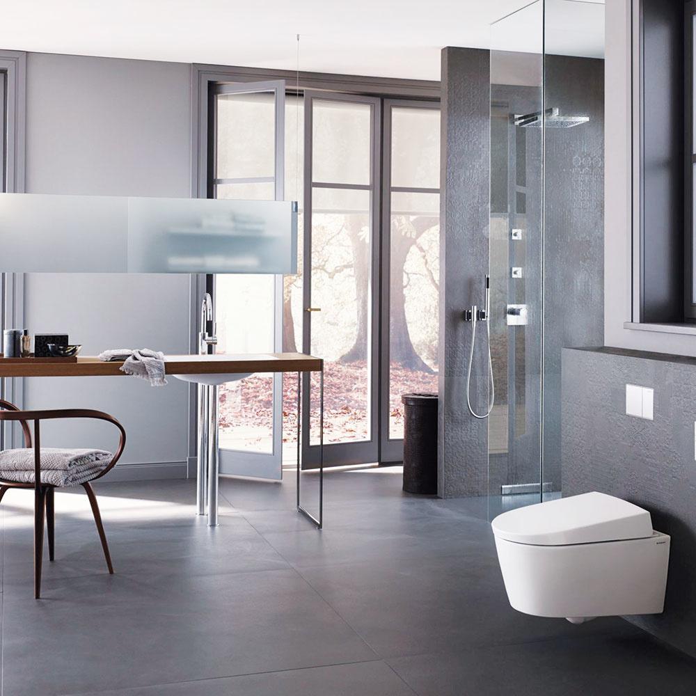 ŠTÝL 1 Antracitový pôvab  Tmavá farba antracitu vmatnom vyhotovení dá vyniknúť bielej sanite, ako aj drevenému ikovovému nábytku. Nezabudnite na sklo, ktoré sa tu vyslovene žiada. Tmavé farby miestnosti zmenšujú, preto sú vhodnejšie do priestranných kúpeľní sveľkými oknami, ktoré ju presvetlia. Textílie možno ladiť tón vtóne, ale nezaškodí siahnuť ani po farbe, ktorá vnesie do kúpeľne hravosť.