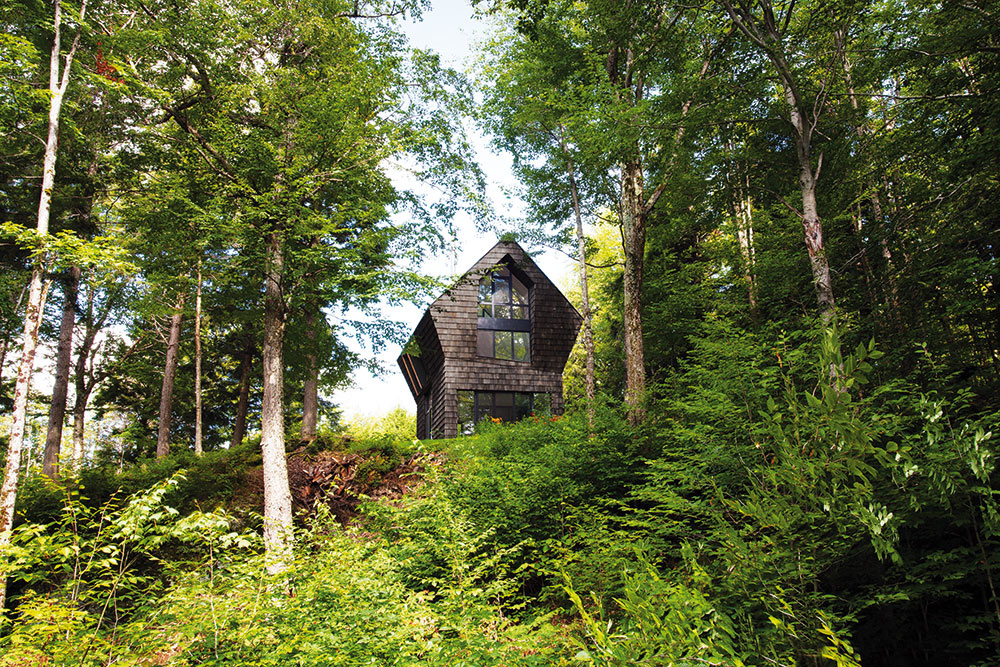 Svojím tvarom, pripomínajúcim stromový bunker či vtáčiu búdku, sa dom stal neoddeliteľnou súčasťou okolitej prírody.
