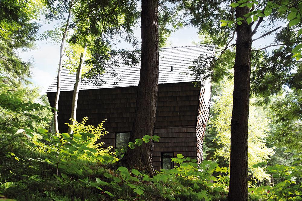 Odtieň drevených obkladov je na nerozoznanie od odtieňov kmeňov ihličnanov. Dom akoby si vytvoril svoje ochranné mimikry. Dokonale splýva sokolitou prírodou.
