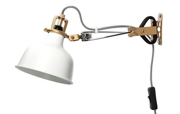 RANARP, oceľ, 14 × 12 × 34 cm, priemer 14 cm, dĺžka kábla 3,5 m, možno použiť  aj ako lampu so štipcom, 19,99 €, IKEA