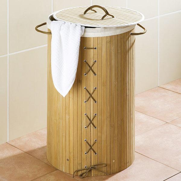 Kôš na bielizeň Bina od značky Wenko, bambus, textilný poťah, 35 × 60 × 35 cm, 24,29 €, www.bonami.sk